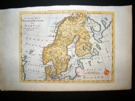 Bowen C1790 Antique Hand Colored Map. Sweden, Denmark, Norway